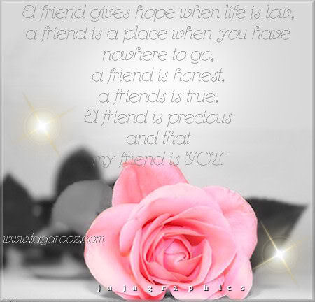 A friend gives hope when life is low