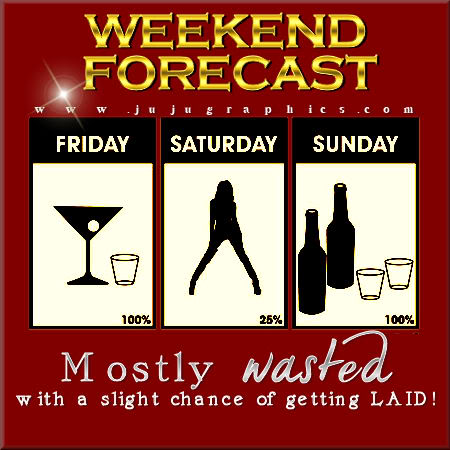 Weekend forecast mostly wasted with a slight chance of getting laid
