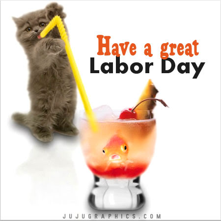 Have a Great Labor Day Kitten and Goldfish